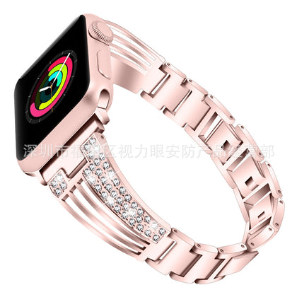 Applicable to Apple watch Apple fan-shaped diamond-studded stainless steel strap strap alloy flash diamond steel strap