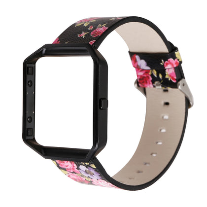 Suitable for Fitbit blaze strap printing rural style leather strap smart watch new floral FB leather strap