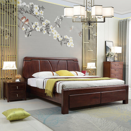 Chinese walnut wooden bed modern minimalist 1.8 m double bed master bedroom economy 1.5 m small apartment furniture
