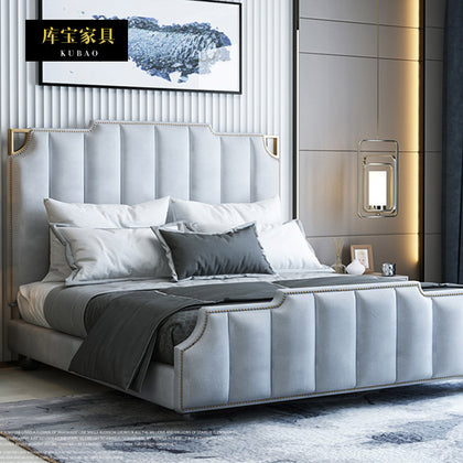 Light luxury bed leather bed furniture simple modern fabric bed soft bed leather factory direct sales to customize