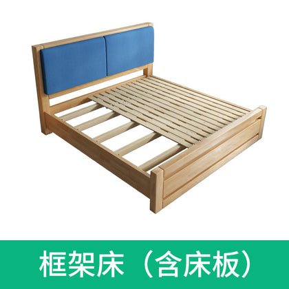 Solid wood bed 1.5 m 1.8 m double bed oak Bedroom furniture high box solid wood bed Simple Nordic bed