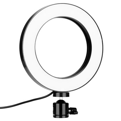 5.7-inch dimmable three-color LED stepless dimming ring light with tripod vibrato selfie photography