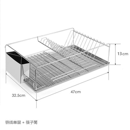 Manufacturers wholesale kitchen racks iron wire single-layer dish rack tableware storage drain rack household bowl rack