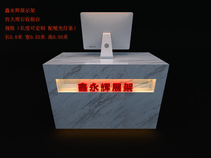 Shoe Store Fruit Shop Cashier Counter Simple Modern Imitation Marble Bar Company Reception Counter Can Be Customized