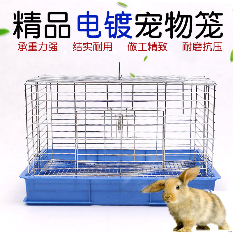 Electroplating blue basin rabbit cage Bold wire rabbit cage Pet cat dog dog cage pet shop supplies wholesale