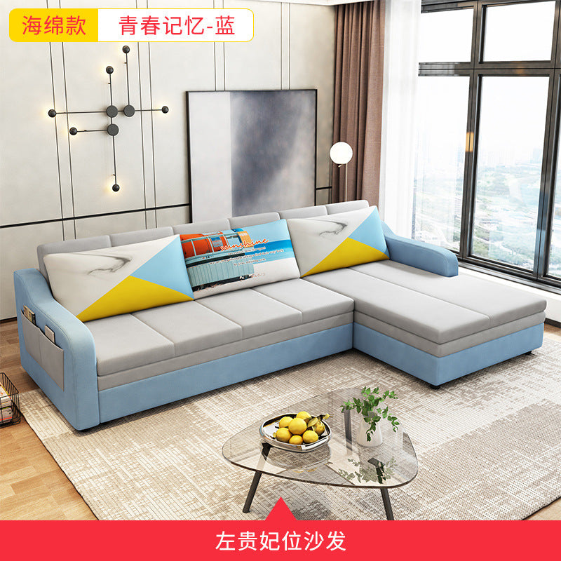 Cloth sofa living room small apartment removable and washable simple modern corner three-person chaise light luxury L-shaped sofa combination
