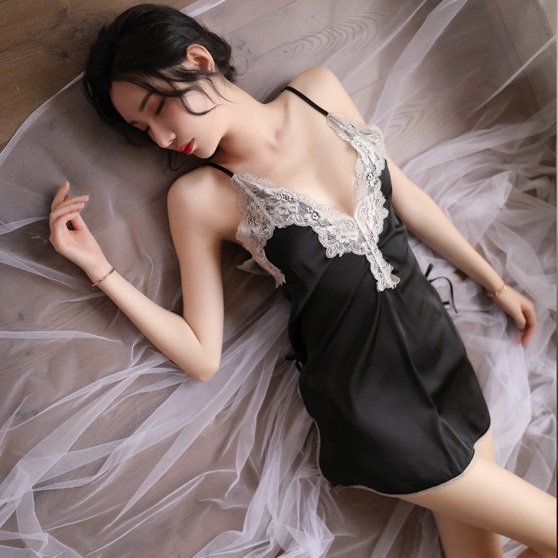 Love as erotic lingerie cross-border summer new female sense sling nightdress lace temptation sexy short skirt suit