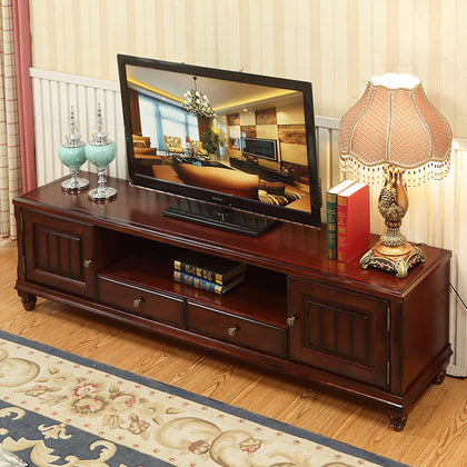 & lt; Xianyu & gt; American country solid wood TV cabinet floor cabinet locker rubber wood audiovisual cabinet combination cabinet furniture