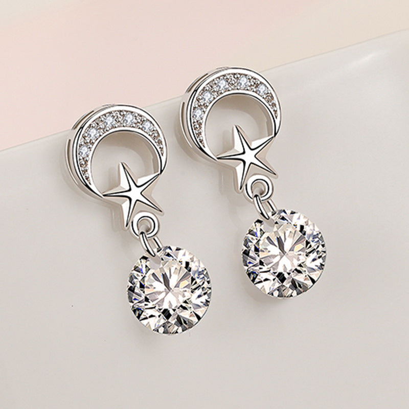 Korean version of the stars and moon earrings long tassel earrings net red new flash diamond earrings manufacturers wholesale one on behalf of