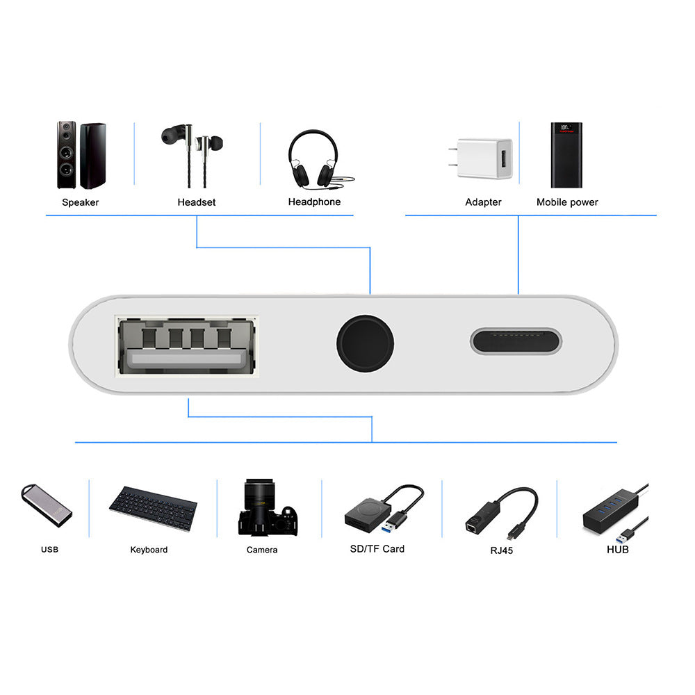Type c adapter 3.5 audio adapter 3.5usb one minute three multi-function adapter usb interface charger