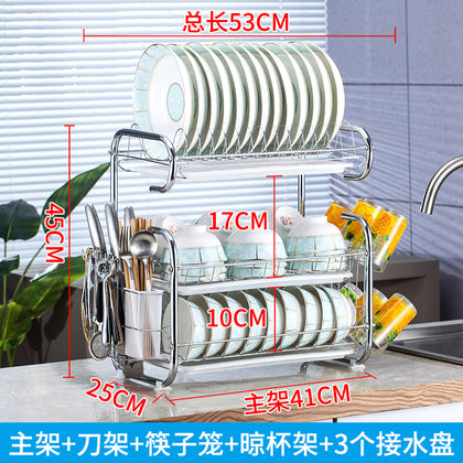 Drain bowl rack kitchen supplies utensils cutlery double rack knife holder dish dishes dishes storage box plate