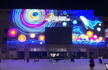 Large marine theme commercial festival curtain wall lighting painting wall lighting engineering free design professional installation