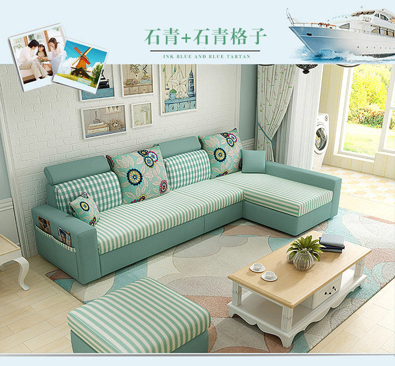 Style multifunctional sofa bed triple foldable living room combination simple fabric Nordic lazy sofa bed