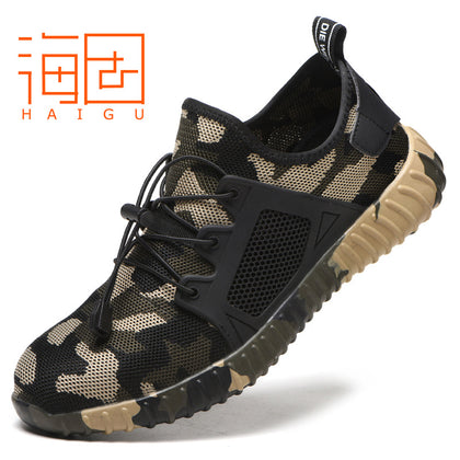 Cross-border special anti-smashing and anti-piercing labor insurance shoes summer breathable safety shoes mesh cloth foot deodorant breathable protective shoes