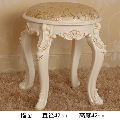 42 high stool ivory white gold cloth