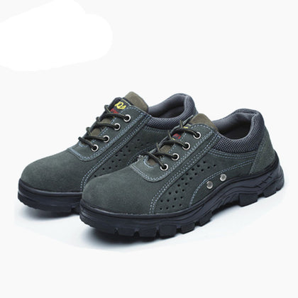 Factory direct leather low to help steel Baotou labor insurance shoes male summer breathable foot protection work shoes stab-resistant cross-border