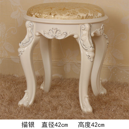 42 high stool ivory white painted silver cloth