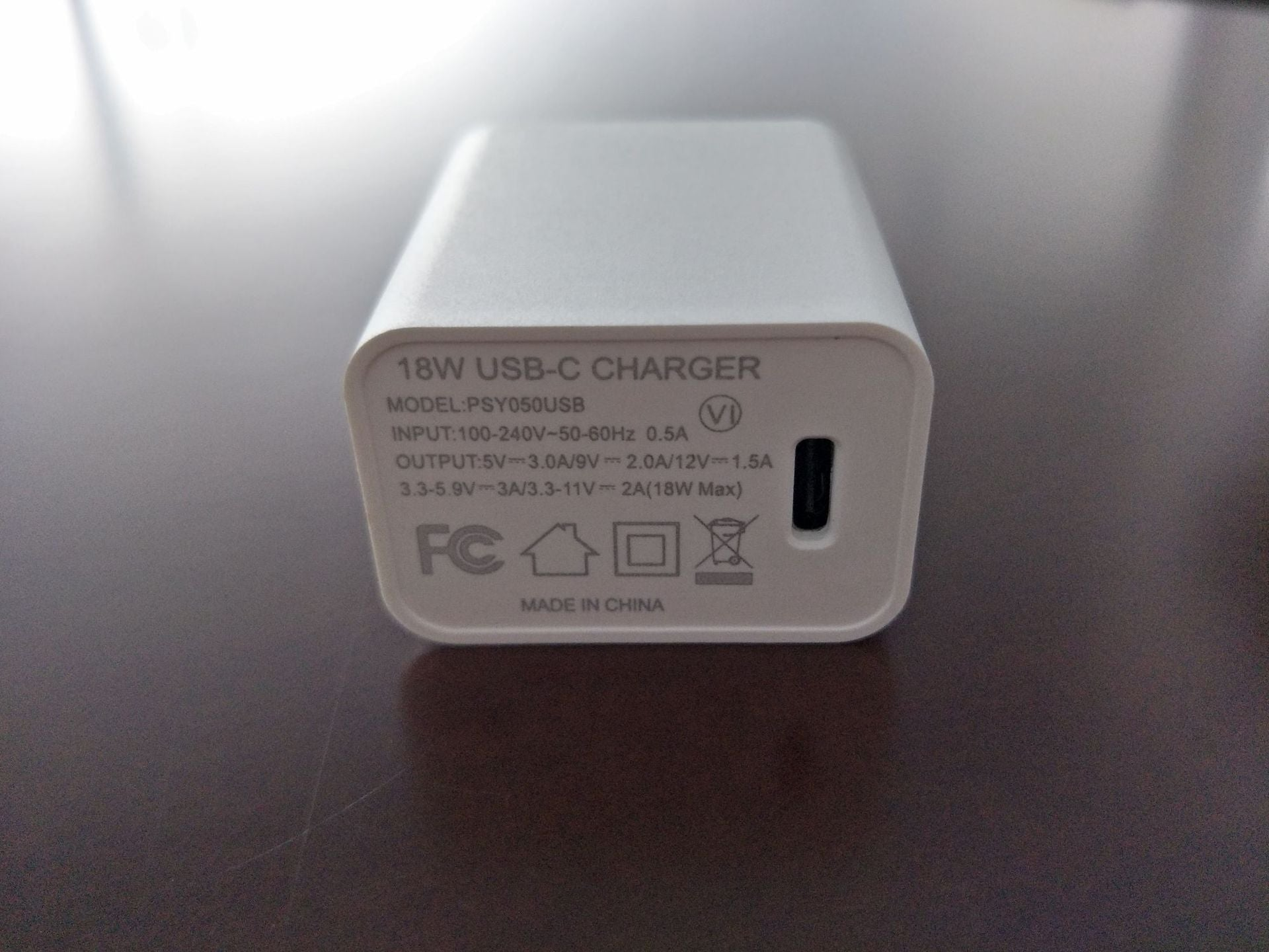 New 18W charger TypeC interface Supports PD protocol Over UL US Class 6 energy efficiency certification