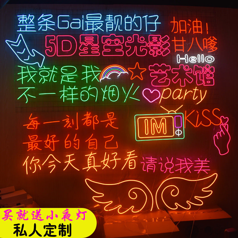 Customized flexible neon light word door light with LED signboard advertising outdoor waterproof logo design