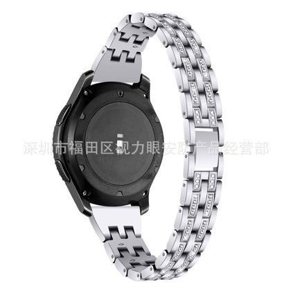 Suitable for Samsung S3 smart watch Galaxy watch46mm strap five beads two rows diamond metal steel band