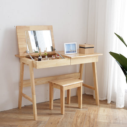 Japanese-style makeup mirror full oak makeup table flip with mirror Nordic simple oak dressing table can be customized direct sales