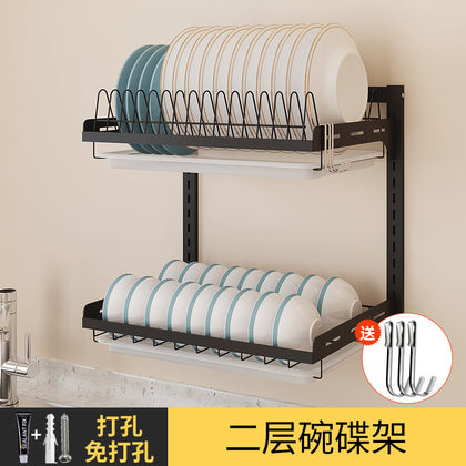Nail-free two or three layers adjustable stainless steel kitchen wall-mounted knife and fork combination chopstick holder rack dish drain