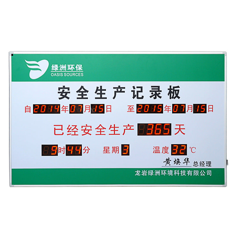 Custom LED electronic signage safe running days record card reveal card timer countdown card display