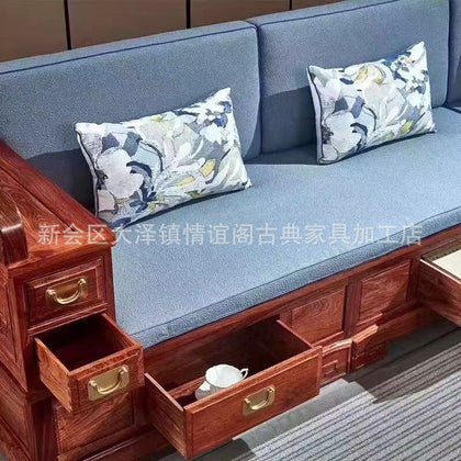 Corner chaise longue sofa, classical Chinese style small apartment storage sofa combination