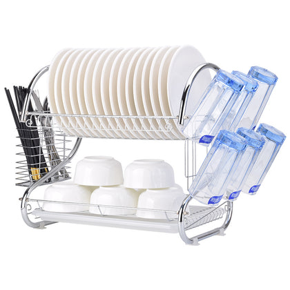 One-generation hair-relief double-deck single-dish drain bowl rack, kitchen supplies storage rack, manufacturer iron rack
