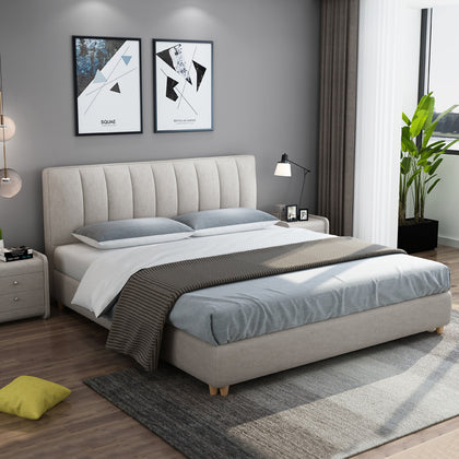 Nordic fabric bed soft pack double bed 1.8 meters simple modern fabric bed small apartment removable and washable master bedroom wedding bed