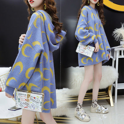 2019 autumn new Korean fashion moon pattern sweater loose mid-length hooded pullover pregnant women sweater