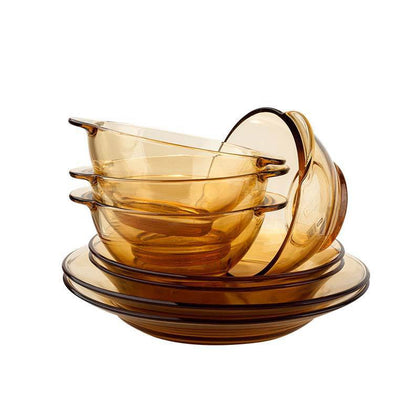 Corning tableware household glass set transparent glass bowl dishes plate 8-piece bowl bowl bowl salad bowl