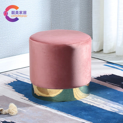 Processing Nordic round stool modern minimalist creative personality sofa stool low stool fabric foot stool makeup stool shoe stool