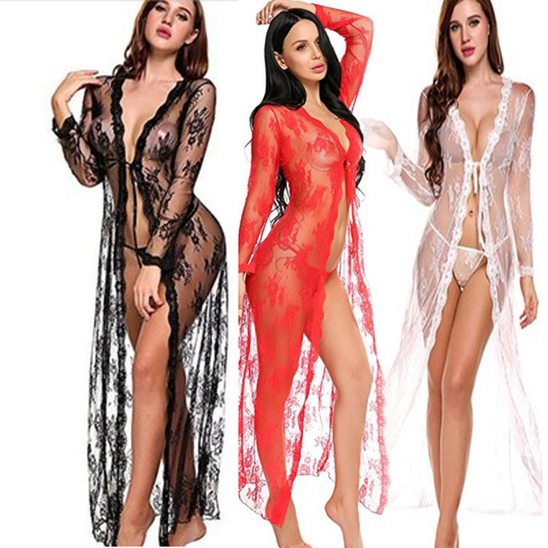 Foreign trade Europe and America sexy underwear foreign trade lace bathrobe XL lace dress sexy transparent pajamas 79220