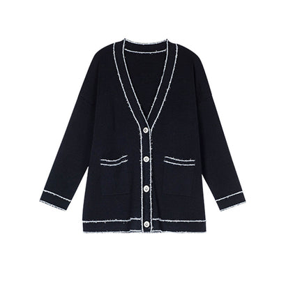 ZOW Mouth small pepper autumn new elegant temperament fragrant wind contrasting color silhouette lazy knitted cardigan 19371