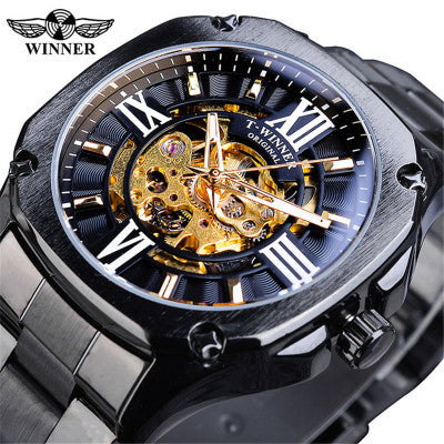 T-winner New European Style Men's Fashion Casual Hollow Mechanical Movement Automatic Mechanical Watch Men's Watch