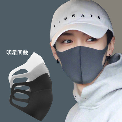 Star Luhan same mask black dust-proof breathable washable anti-fog dust-proof autumn and winter warm fashion mask