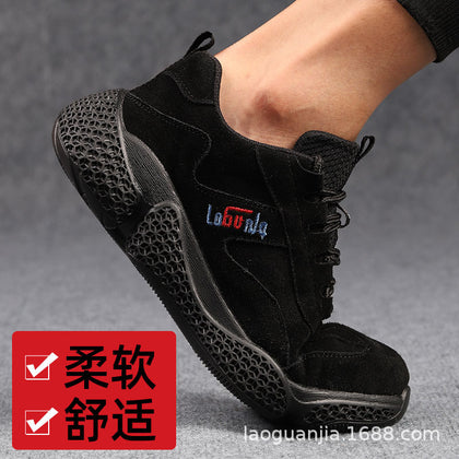Cross-border special labor insurance shoes men's steel toe caps anti-smashing puncture foot protection work shoes safety protection breathable