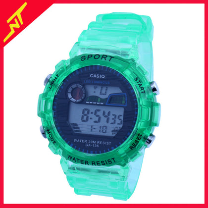 Large multifunctional electronic watch matcha green luminous leisure watch student transparent adult multifunctional watch