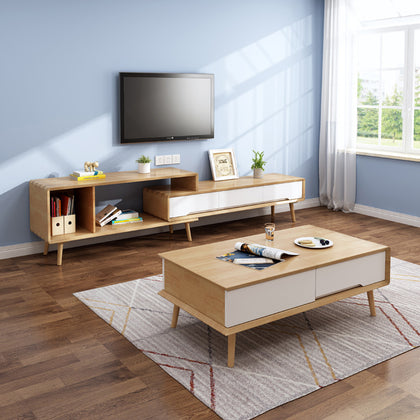 Solid wood Nordic telescopic TV cabinet modern minimalist locker living room furniture set floor cabinet coffee table combination assembly