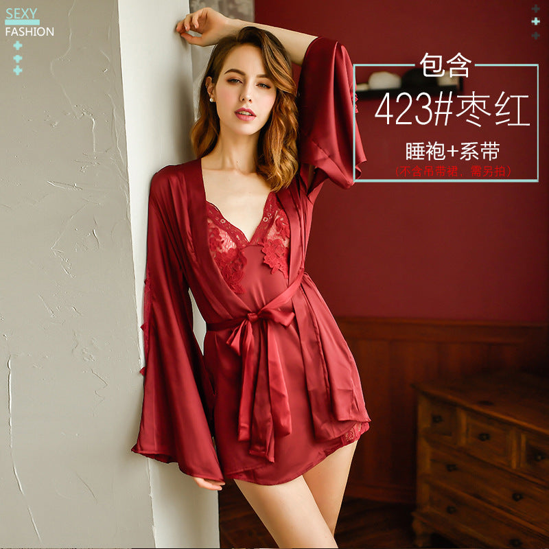 Rose cross-border new European and American sexy sexy lace long-sleeved pajamas temptation nightgown home service underwear limit price 68
