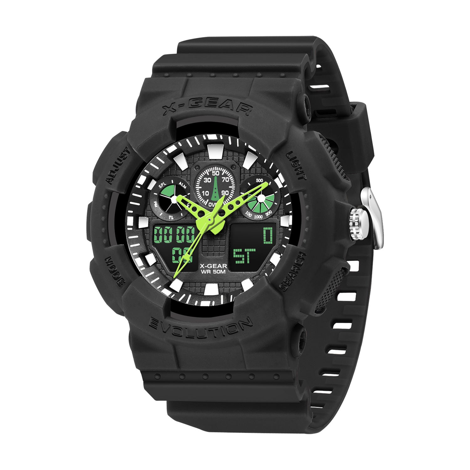 X-GEAR Men's Automatic Luminous Waterproof Electronic Watch Personality Outdoor Multifunctional Male Student Watch