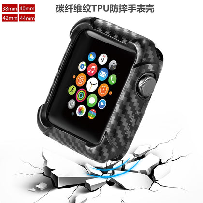 Factory direct iwatch case TPU carbon fiber pattern suitable for Apple Watch protective case half bag 4/5 generation 44mm