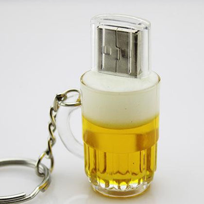 Creative plastic beer mug USB flash drive USB flash drive custom keychain USB flash drive exhibition gift factory wholesale