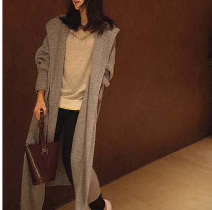 Foreign trade 2019 autumn and winter Korean version of the new wild hooded jacket in the long section loose was thin female fashion cardigan shirt