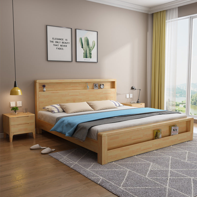 Solid wood bed modern minimalist Nordic style log single double air pressure drawer high box storage wedding bed bedroom furniture