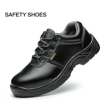 Labor insurance shoes men's steel toe caps anti-smashing puncture foot protection work shoes safety protection breathable cowhide solid bottom