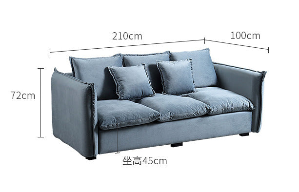 Nordic fabric double sofa simple modern small apartment flannel three sofa living room home combination furniture
