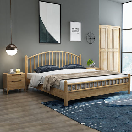 Nordic wood bed ins wind master bedroom 1.5M1.8 meters double modern minimalist Japanese economy rubber wood