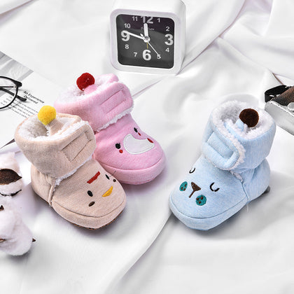 0-1 years old baby shoes autumn and winter soft bottom toddler shoes 6-12 months men and women baby cotton shoes plus velvet newborn shoes